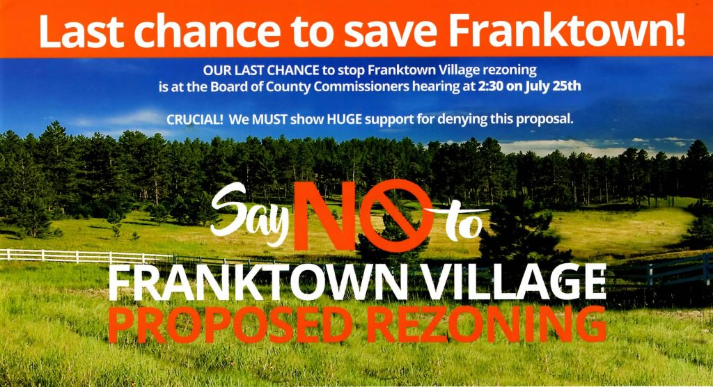 THIS IS IT, the Final Vote on the Proposed Rezoning of Franktown at the Board of the County!
